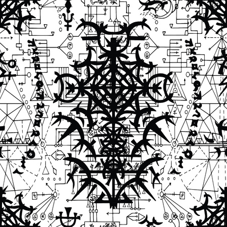 Seamless pattern with geometric gothic symbols, lines and figures on white. Esoteric, occult and wicca concept, Halloween illustration with mystic symbols and sacred geometry Vektorové ilustrace