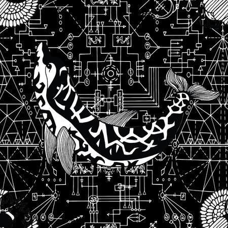 Seamless pattern with decorated dolphin on black background with geometric lines. Esoteric, occult and wicca concept, Halloween illustration with mystic symbols and sacred geometry