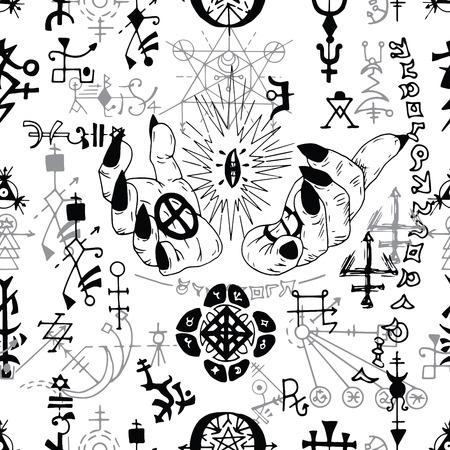 Modello senza cuciture con simboli mistici e dita del mago su bianco. Concetto esoterico, occulto e wicca, illustrazione di Halloween con simboli mistici e geometria sacra