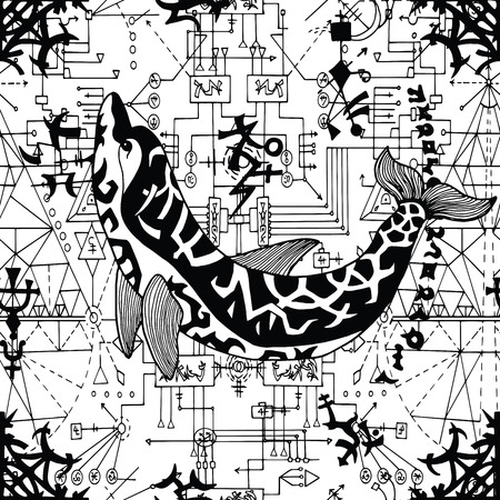 Seamless pattern with dolphin, gothic symbols and geometric lines on white. Esoteric, occult and wicca concept, Halloween illustration with mystic symbols and sacred geometry