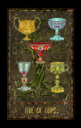 Five of cups. Minor Arcana tarot card. The Magic Gate deck. Fantasy graphic illustration with occult magic symbols, gothic and esoteric concept