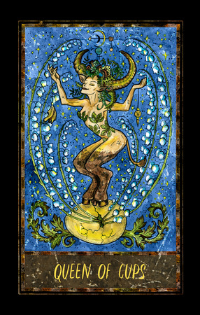Queen of cups. Minor Arcana tarot card. The Magic Gate deck. Fantasy graphic illustration with occult magic symbols, gothic and esoteric concept