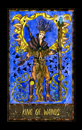 King of wands. Minor Arcana tarot card. The Magic Gate deck. Fantasy graphic illustration with occult magic symbols, gothic and esoteric concept