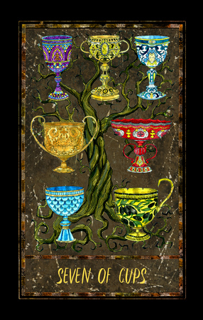 Seven of cups. Minor Arcana tarot card. The Magic Gate deck. Fantasy graphic illustration with occult magic symbols, gothic and esoteric concept Фото со стока