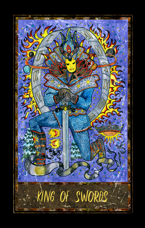 King of swords. Minor Arcana tarot card. The Magic Gate deck. Fantasy graphic illustration with occult magic symbols, gothic and esoteric concept Stock Photo