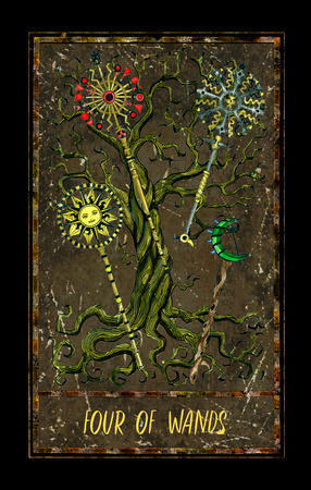 Four of wands. Minor Arcana tarot card. The Magic Gate deck. Fantasy graphic illustration with occult magic symbols, gothic and esoteric concept