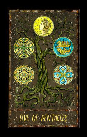 Five of pentacles. Minor Arcana tarot card. The Magic Gate deck. Fantasy graphic illustration with occult magic symbols, gothic and esoteric concept Stock Photo