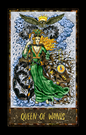 Queen of wands. Minor Arcana tarot card. The Magic Gate deck. Fantasy graphic illustration with occult magic symbols, gothic and esoteric concept