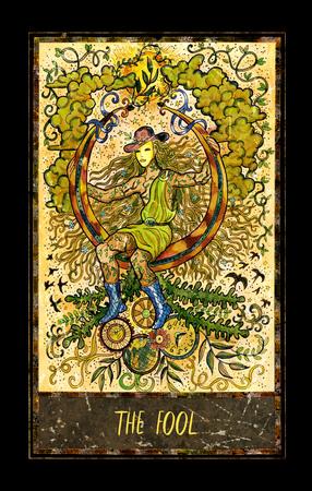 Engañar. Carta del tarot de los Arcanos Mayores. La baraja Magic Gate. Ilustración gráfica de fantasía con símbolos mágicos ocultos, concepto gótico y esotérico Foto de archivo