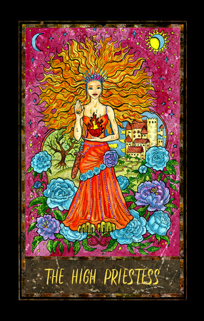 High Priestess. Major Arcana tarot card. The Magic Gate deck. Fantasy graphic illustration with occult magic symbols, gothic and esoteric concept