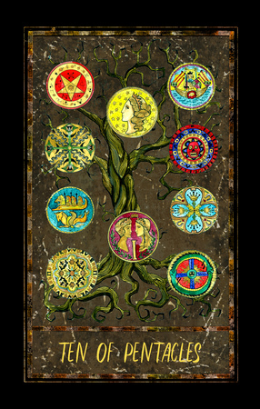 Ten of pentacles. Minor Arcana tarot card. The Magic Gate deck. Fantasy graphic illustration with occult magic symbols, gothic and esoteric concept