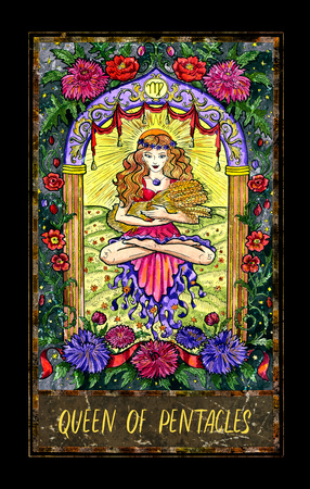 Queen of pentacles. Minor Arcana tarot card. The Magic Gate deck. Fantasy graphic illustration with occult magic symbols, gothic and esoteric concept