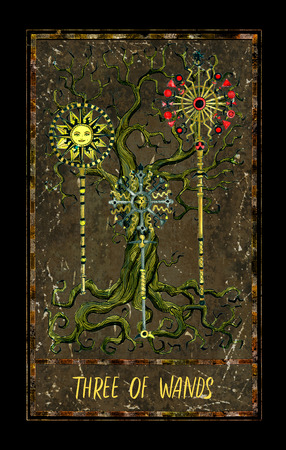 Three of wands. Minor Arcana tarot card. The Magic Gate deck. Fantasy graphic illustration with occult magic symbols, gothic and esoteric concept 写真素材