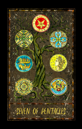 Seven of pentacles. Minor Arcana tarot card. The Magic Gate deck. Fantasy graphic illustration with occult magic symbols, gothic and esoteric concept Archivio Fotografico
