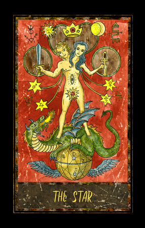 Star. Major Arcana tarot card. The Magic Gate deck. Fantasy graphic illustration with occult magic symbols, gothic and esoteric concept