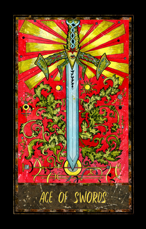 Ace of swords. Minor Arcana tarot card. The Magic Gate deck. Fantasy graphic illustration with occult magic symbols, gothic and esoteric concept Stock Photo