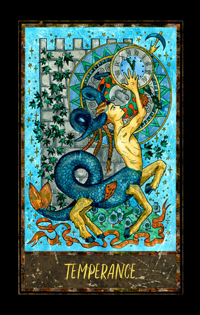 Temperance. Major Arcana tarot card. The Magic Gate deck. Fantasy graphic illustration with occult magic symbols, gothic and esoteric concept Stock Photo