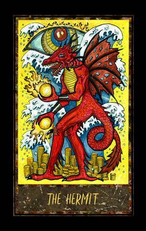 Hermit. Major Arcana tarot card. The Magic Gate deck. Fantasy graphic illustration with occult magic symbols, gothic and esoteric concept