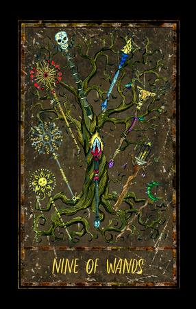 Nine of wands. Minor Arcana tarot card. The Magic Gate deck. Fantasy graphic illustration with occult magic symbols, gothic and esoteric concept