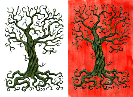 Old tree without leaves isolated on white and against red brushed background. Hand drawn doodle graphic illustration with fantasy and mystic objects