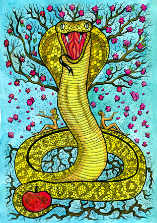 Snake and Lovers. Hand drawn fantasy graphic illustration. Occult mystic drawing with symbol of eastern calendar zodiac animal, mystic astrology background