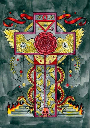 Religious concept with cross, rose, snake and hell. Occult and esoteric colorful illustration, mysterious gothic background