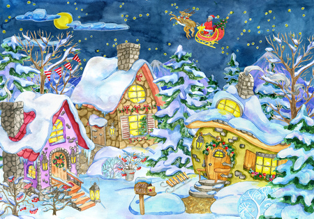 Christmas and new year greeting card with cottage houses village against fir forest and Santa in sky. Hand painted winter nature watercolor illustration, holiday cartoon background Stock Photo