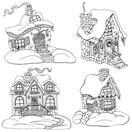 Vector design set with graphic decorated cottage houses for Christmas and New Year concept. Vector hand drawn winter background with cartoon illustration for decorations