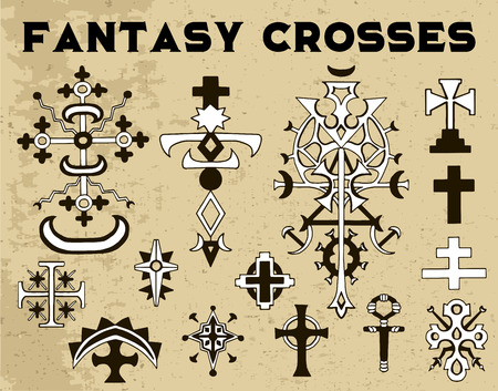 Design collection with fantasy crosses on texture background. Vintage vector decorative religious illustration, old gothic graphic drawings Illustration