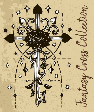 Fantasy cross with rose flower, sacred geometry pattern and stars. Vintage vector decorative religious illustration, old gothic graphic drawings