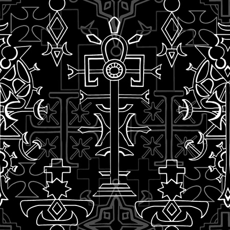 Seamless pattern with white gothic fantasy crosses on black. Fantasy decorative illustration, vector gothic symbols, occult abstract background