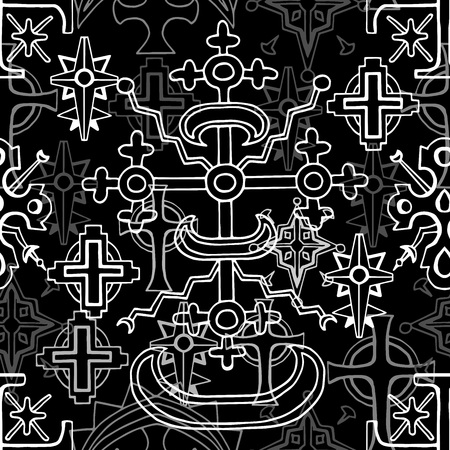 Seamless pattern with sacred geometry fantasy crosses on black. Fantasy decorative illustration, vector gothic symbols, occult abstract background Illustration
