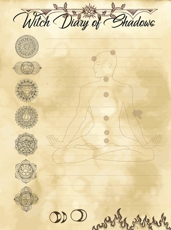 Witch diary page 11 of 31 with healing chakras and human body silhouette. Magic wiccan old book with occult illustration, mystic vector background