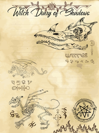 Witch diary page 7 of 31 with dragon, monster skull, skeletons and evil symbols. Magic wiccan old book with occult illustration, mystic vector background