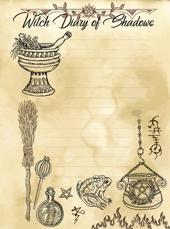 Witch diary 2 of 31 with magic pot, broomstick and herbs. Magic wiccan old book with occult illustration, mystic vector background
