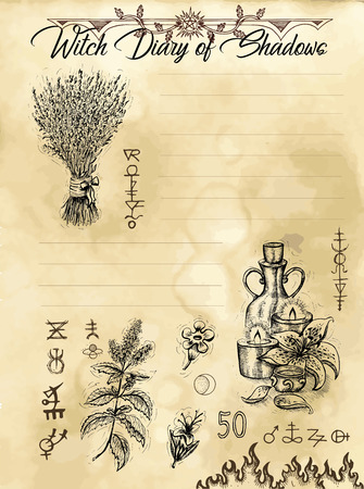 Witch diary page 1 of 31 with magic herbs and potions. Magic wiccan old book with occult illustration, mystic vector background