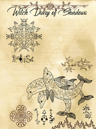 Witch diary page 17 of 31 with esoteric dolphins, sacred geometry symbols. Magic wiccan old book with occult illustration, mystic vector background