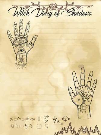 Witch diary page 12 of 31 with palm hand reading and chiromancy concept. Magic wiccan old book with occult illustration, mystic vector background