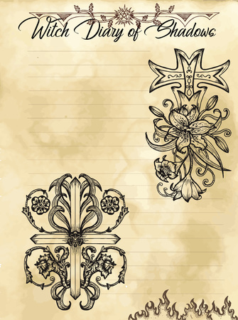 Witch diary page 29 of 31 with fantasy crosses with flowers, floral baroque patterns. Magic wiccan old book with occult illustration, mystic vector background Illustration