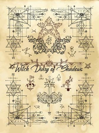 Portada para diario de brujas de sombras con geometría sagrada y símbolos y signos esotéricos. Libro antiguo mágico wiccan con ilustración oculta, fondo de vector místico