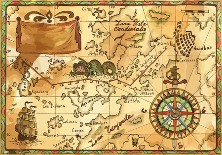 Vecchia mappa pirata vettoriale con rosa dei venti, barca a vela, mostro marino e banner. Avventure pirata, caccia al tesoro e vecchio concetto di trasporto. Illustrazione vettoriale, sfondo vintage Vettoriali