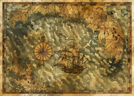 Vector antique map with treasures hunt concept, compass and old ship. Pirate adventures, treasure hunt and old transportation concept. Vector illustration, vintage background