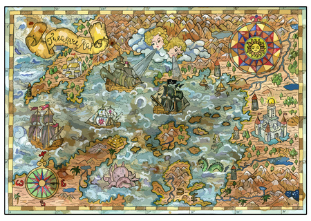 Vector old map of fantasy lands with pirate ships, monsters, castles, treasure islands. Pirate adventures, treasure hunt and old transportation concept. Vector illustration, vintage background