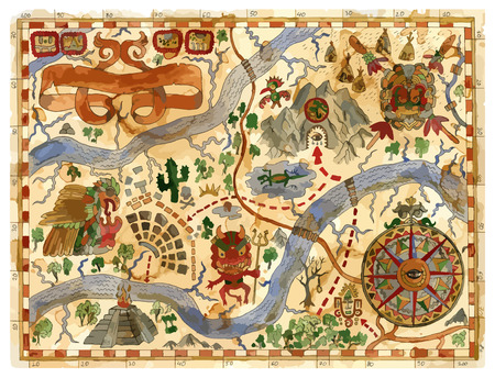 Vector vintage adventures map with pirate treasures, aztecs gods, compass. Pirate adventures, treasure hunt and old transportation concept. Vector illustration, vintage background Illustration