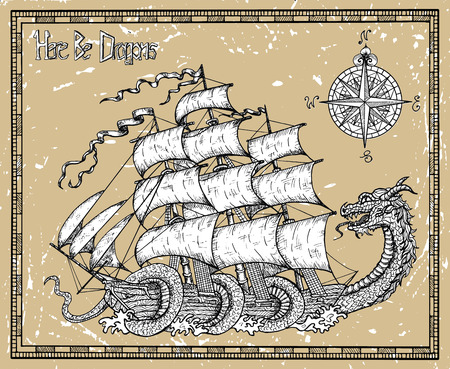 Leviathan dragon striking sailboat on texture background in frame. Vector sketch of tattoo fantasy concept and t-shirt design. Graphic line art illustration