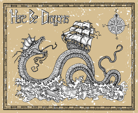 Scary dragon and ship with compass, sea waves and title Here Be Dragons. Vector sketch of tattoo fantasy concept and t-shirt design. Graphic line art illustration 矢量图像