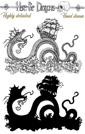 Set with scary detailed Leviathan striking old sailboat and black silhouette. Vector sketch of tattoo fantasy concept and t-shirt design. Graphic line art illustration