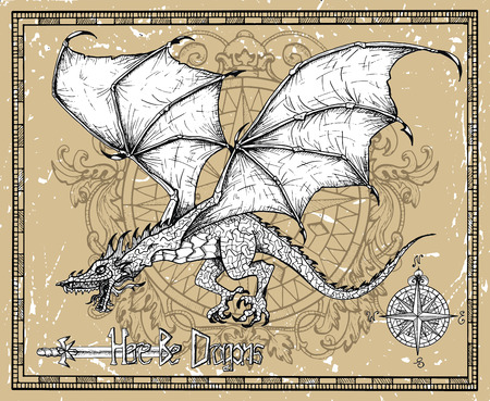 Flying dragon, old sword and compass against texture in frame. Vector sketch of tattoo fantasy concept and t-shirt design. Graphic line art illustration