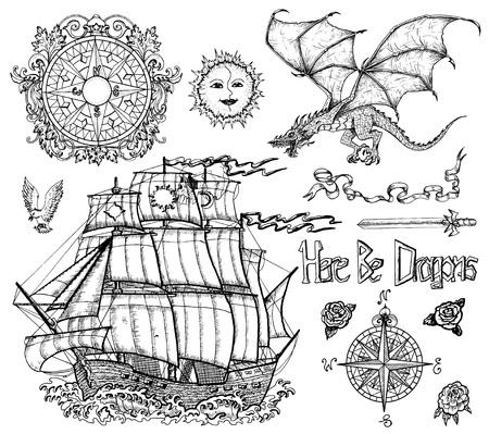 Set di design con imbarcazione a vela, drago volante, bussola, spada, decorazione. Schizzo vettoriale di fantasy epico, avventure e vecchio concetto di trasporto. Illustrazione incisa di grafica al tratto, collezione di scarabocchi Vettoriali