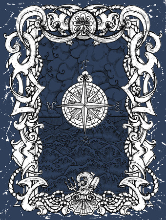 Antique baroque frame with sea landscape, stormy waves, clouds and compass on blue. Vector nautical illustration, historical adventure concept, t-shirt graphic design element